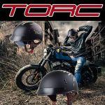 TORC Moto Visage Ouvert moitié Casque avec Lunettes Vintage Jet Harley Casque Cruiser Casque Dot certifié Moto Skull Style (Noir Mat),L57~58