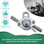 Commutateur de réservoir d'essence de carburant Robinet d'essence Petcock avec interrupteur marche/arrêt à deux extrémités pour cyclomoteur VTT tout-terrain – Argenté