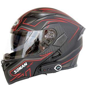 Feixunfan Masque de Masque de Motocross Casque De Moto Électrique Bluetooth Casque Double Casque Intégral Casque De Moto Lunettes de Moto avec Casque Amovible (Couleur : A1, Taille : XXL)