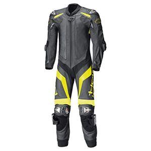Held Race-Evo II Combinaison intégrale en cuir de kangourou noir/jaune fluo, protections en titane, protection dorsale SAS-TEC, doublure intérieure en maille 52