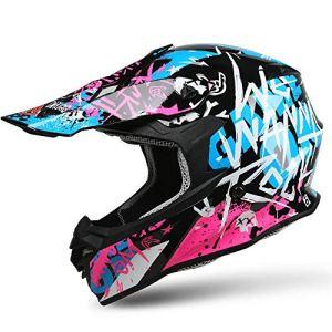 Masque de masque de motocross Casque Complet Moto Tout-terrain Casque Moto Tout-terrain For Homme, Casque De Route, Moto De Course, Modèles Homme Et Femme Lunettes de moto avec casque amovible