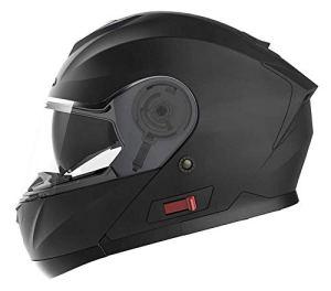 Motorradhelm Klapphelm Integralhelm Fullface Helm – Yema YM-926 Rollerhelm Sturzhelm mit Doppelvisier Sonnenblende ECE für Damen Herren Erwachsene-Noir Mat-L