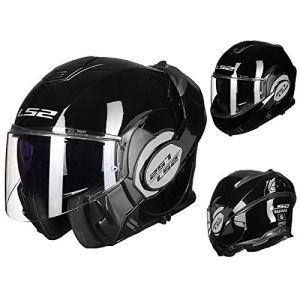 QE résistance à l'abrasion Moto Helmets,Confortable Respirant Facile à Nettoyer Visage Entier Couverture À Rabat Motocycle Casque,Crash Visière Anti-Rayures Motocyclette Casque Modulable/A/L