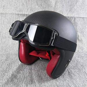 QianXuJi-H Casque de Moto Ouvert à Demi-Casque en Fibre de Carbone Ultra-léger Shell Casques Vintage Moto avec Coussinet intérieur Rouge Matte Black Glasses XXL