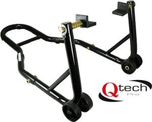 Qtech Béquille d'atelier arrière universelle pour moto avec adaptateurs en L pour bras oscillants, capacité 200 kg