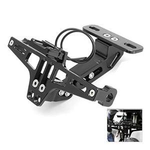SODIAL CNC Permis de Moto Cadre Support de Plaque de L'Immatriculation Support avec Lumière LED Réglable pour Yamaha Bws R25 R3 Mt03 Msx