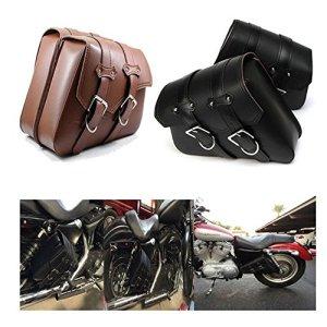 DLLL 1paire (gauche et droite) Marron PU Cuir côté droit Solo Swing Arm Sac de selle pour Harley Davidson Dyna Sportster Cruiser Fat Bob Xl883Xl1200