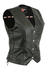 Texpeed – Gilet de Moto en Cuir – pour Femme – Lacets sur Les côtés/Poches – EU42 – Tour de Poitrine 102 cm