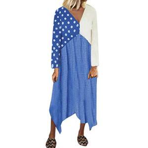 Allegorly Femme Robe,Femmes Robe d'été Robe de Plage Patchwork Impression Longue Manches Double Couche A-Line Bohême Boho Bloc de Couleur Coton Lin Plage Maxi Dress