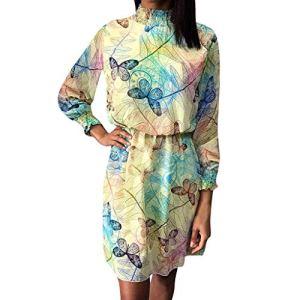 Élégant À La Mode De Mode des Tempérament À Manches Longues Papillon Imprimer Mousseline De Soie Partie De Mariage Banquet Robe De Soirée