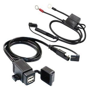 MOTOPOWER 3.1Amp Kit de chargeur USB double moto étanche avec câble de borne SAE