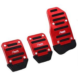 RETYLY 3 x Couverture antiderapant de pedale en Metal et Plastique Noir et Rouge