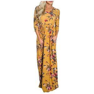 Allegorly Femme Robe Chic Longue Col O à Fleur Manches Courtes en Coton Robe Maxi de Plage D'été Casual Femmes Manche Longue Robe Imprimée Col en V Longue Robe Longue