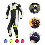 YILIFA Costumes d'équitation de Moto, Ensemble Protecteur de vêtements de Course en Cuir d'une Seule pièce en Cuir,Yellow,2XL