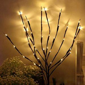 Branches de LED Brindilles artificielles Brindille de saule Lumières- Feu d'artifice Starburst Lumières décoratives Bâton de remplissage de vase allumé branche de brindille pour la décoration de la