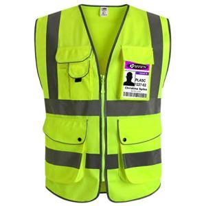 JKSafety 9 poches de classe 2″gilet de sécurité haute visibilité devant avec des bandes réfléchissantes, jaune répond aux normes EN ISO 20471 – Unisexe(Moyen)