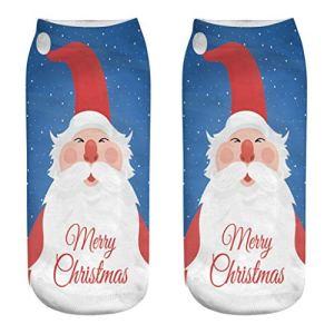 LuckyGirls Chaussettes d'affaires de Travail Occasionnel Chaussettes Moyennes de Sport d'impression de Santa Elk de Noël de Noël 3D