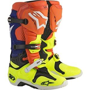 Alpinestars Tech 10 Sac6f–Bottes de motocross –Orange fluo, bleu, blanc et jaune fluo – 47