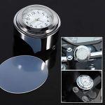 Keenso Moto Guidon Watch heure précise à cadran blanc d'horloge, horloge de guidon pour moto Étanche Cadran en 7/8et 1support guidon