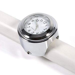 Monture de Guidon de Moto, Keenso Montre de Pointage Précise avec Chronomètre Blanc Horloge de Guidon de Moto Cadran Etanche Noctilucent 7/8″1″