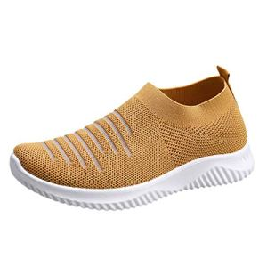 Moonuy _ Femmes Casual Rayé Mesh Sneakers Comfy Respirant Running Chaussures de Sport en Plein Air Solide Antidérapant Chaussette Chaussures