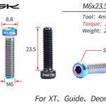Soins Moto Titane en Alliage Creux Split Réservoir De Huile Fixation Vis M6x23.5 for Vélo De Montagne XT Bac De Fixation Moto Accessoires (Color : Gold)