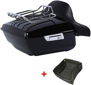 13.7″ King bagages Visite pack coffre avec porte-bagages avec dossier Harley Touring 2014-2020 xtrxtrdsf (Color : Black+Chrome)
