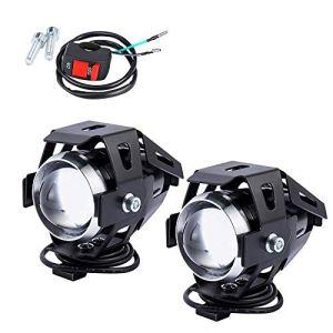 2pcs 125w Phare Moto Feux Additionnels LED Phares Avant Moto Anti Brouillard Projecteur Spot LED Moto U5 3000LM Etanche avec Interrupteur ON OFF de Feux (U5)
