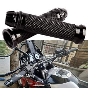 7/8″ 22mm Poignées Moto, Antidérapant Caoutchouc Poignées de Guidon pour Moto (Noir)