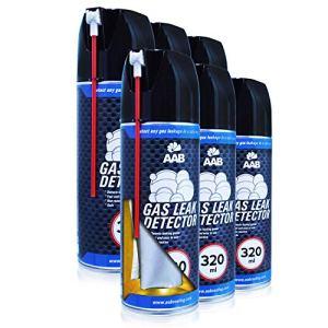 AAB Gas Leak Detector 320ml – 6 Pièces – Spray Détecteur de Fuite de Gaz, Detecteur de Fuite, Bombe Detecteur de Fuite, Detecteur Fuite Climatisation, Testeur Gaz, Detecteur Gaz Butane