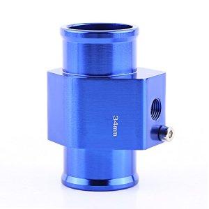 Adaptateur de Capteur de Température, Keenso Sonde Température de l'Eau Joint de Tuyau de Radiateur Universel en Alliage Aluminium 26mm – 40mm Bleu (34MM)