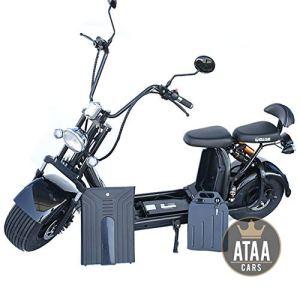 ATAA Citycoco Immatriculable Double Batterie Amovible 60V Moteur 1500w Scooter électrique homologué avec Deux Batteries Amovibles de 60v chacune