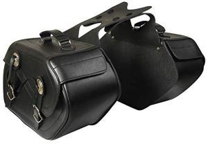 ATG Paire de sacoches de moto pour selle, en cuir, chopper