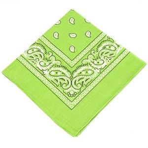 Bandana pour homme, femme et enfant Vert bogey brillant 100% coton cachemire bandana bandana chancelier/cravate de tête/cravate de cou avec motif cachemire – 100% coton, excellente qualité