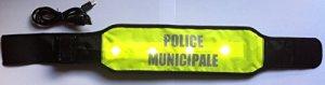 Brassard POLICE MUNICIPALE Large Fluo Deluxe solaire, réfléchissant à LED, auto adaptable