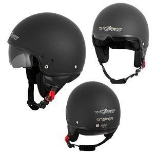 Casque Moto Scooter Vespa Jet Visiere pare soleil ECE 22 Noir Mat XL
