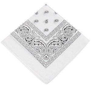 Choix de 19 couleurs de bandanas cachemire/foulard/mouchoir – Convient pour homme, femme et enfant. – Blanc – Taille Unique