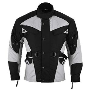 German Wear de Veste de Moto, Noir/Gris Clair, XL