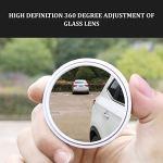 JIUY Car petit miroir rond de 360 degrés spot aveugle rétroviseur réglable super marche arrière auxiliaire clair réfléchissant grand angle (blanc)