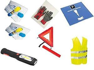 Kit auto sécurité pour jeune conducteur 7 pièces : 1 gilet jaune EN471 + 1 triangle de signalisation + 1 paire de gants en cuir + 2 éthylotests NF + 1 disque de stationnement + 1 lampe à led à dynamo