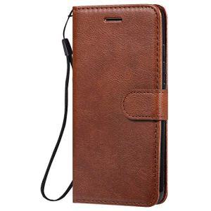 Lomogo Coque LG K20 2019 Portefeuille, Housse en Cuir avec Porte Carte Fermeture par Rabat Aimanté Antichoc Étui Case pour LG K20 – LOKTU100524 Marron