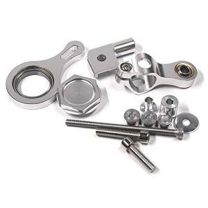 Moligh doll 1 DéFinir CNC en Aluminium RéGlable Motos De Direction Stabilisateur Amortisseur Support De Fixation Kit pour YZF R6 2006-2017 / R1 2009-2012 Argent