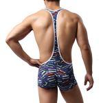 Moonuy Mode Homme Imprimé Accueil Combinaison Décontractée Pyjama Shorts Stretch Mince