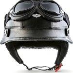 Moto Helmets® D33 Casque de moto demi-coque avec fermeture rapide – Casque de moto ou scooter au style rétro Taille S, M, L, XL ou XXL – Noir