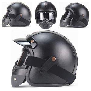 MTTK Dot personnalité Casque Moto rétro certifié Moto Vintage 3/4 Demi-Casque vélo électrique Casque de sécurité,XXL