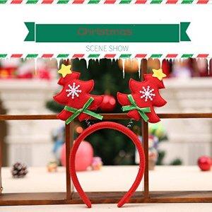 Rameng Bandeau Serre-tête Enfant Adulte Cerceau de Cheveux de Noël Bandes de Cheveux Décoration Fête Noël (Rouge)
