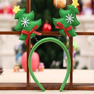 Rameng Bandeau Serre-tête Enfant Adulte Cerceau de Cheveux de Noël Bandes de Cheveux Décoration Fête Noël (Vert)