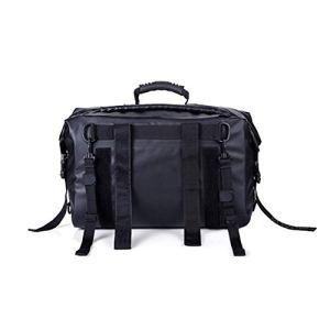 Sac en cuir imperméable à l'eau, Sac de moto sac à dos étanche complet scooter moto sac noir (Couleur : Noir)