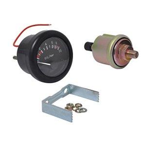 Sharplace 52mm 2″ Manomètre d'Huile 0-10 Bar Jauge de Pression Avec Capteur Npt1 / 8 Pour Bateau Marine