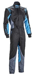 Sparco KS-5 Karting Suit (Black/Gray/Celeste, Size 140) by Sparco